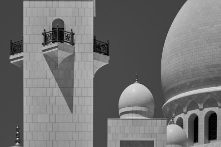 Architectural photography image displayed at the Collective Visions 2 exhibition- Minaret and Domes - Sheikh Zayed Grand Mosque - Abu Dhabi - United Arab Emirates - Collective Visions exhibition