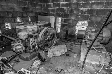 Old irrigation pumping equipment in a small plant room