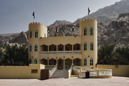 Qalat Dhaya Rest House, Ras Al Khaimah, UAE, with the Hajjar mountains in the background