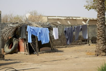 Image of date farm workers' laundry