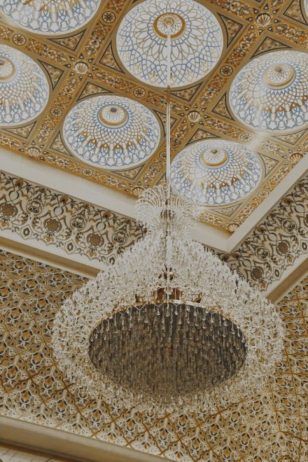 Image of Qasr Al Watan - Chandelier and mashrabiya