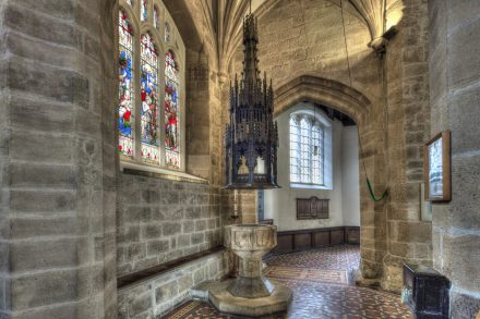 Image: Interior of St.a John the Baptist church - Newcastle upon Tyne, showing the font and font cover