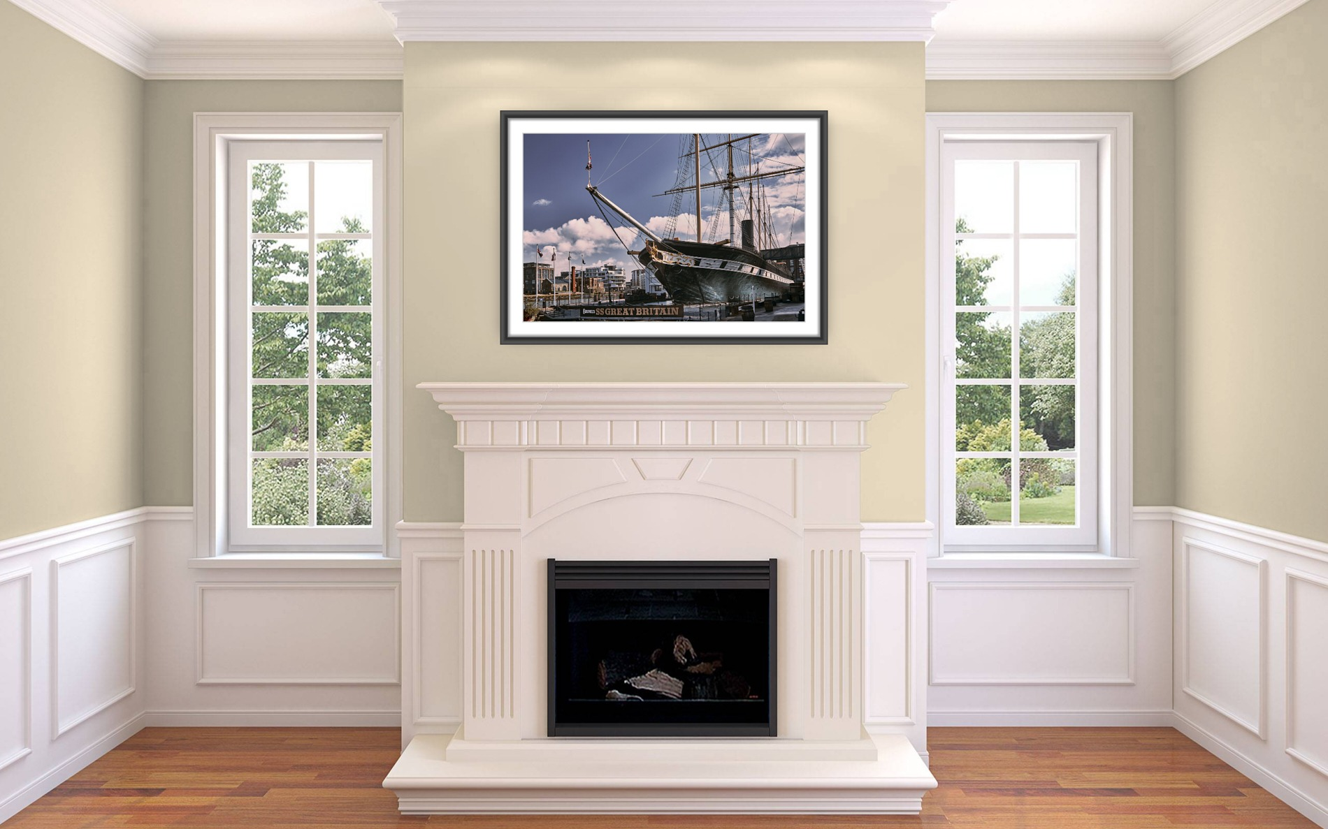 Representation of a framed fine art print of the SS Great Britain