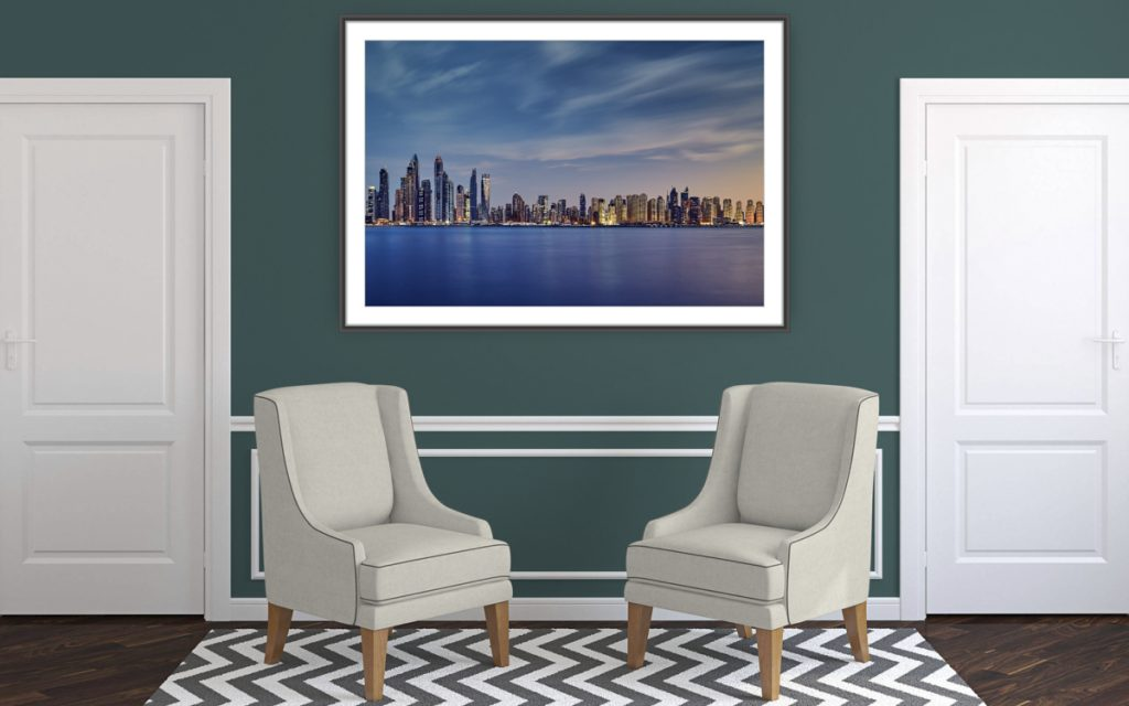 Cityscape - Dubai Marina & Jumeirah Beach - Wall art in a room setting