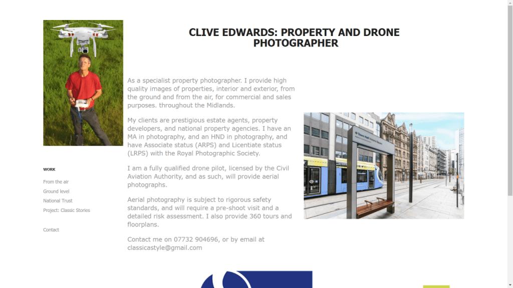 Image: Screenshot of Clive Edward's website