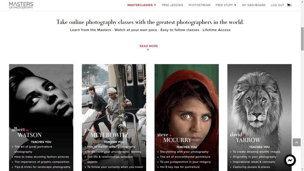 Image: Screenshot of Masters of Photography website