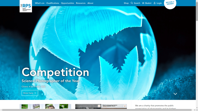 Image - Screenshot of the website of the Royal Photographic Society