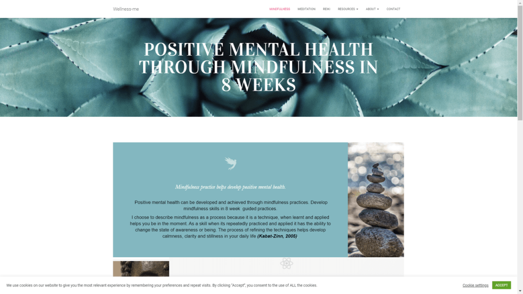 Image - Mindfulness page at Wellness-me.co.uk screenshot