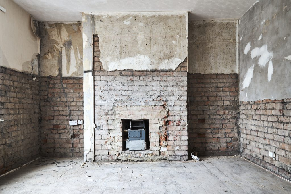 Architectural photography image - Interior of home undergoing refurbishment by contractor