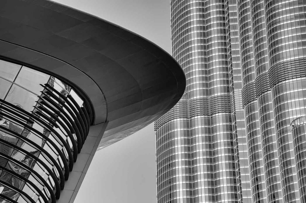 Image: Architectural detail - Dubai Opera House and Burj Khalifa