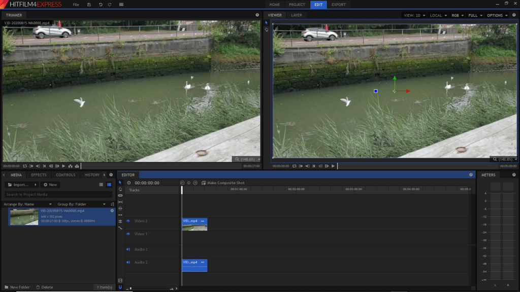 Screenshot of HitFilm Express - video editing software