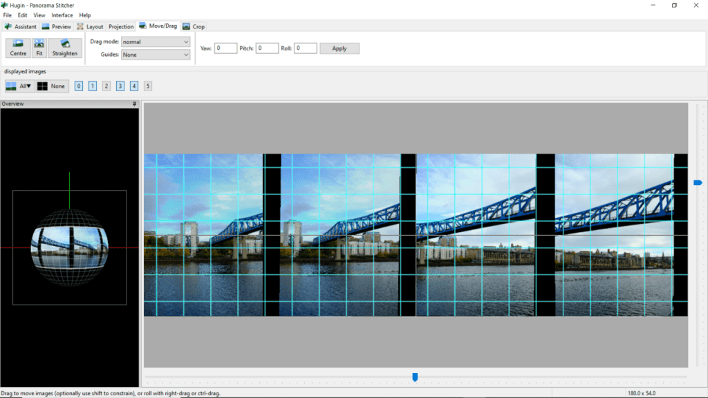 Screenshot of Hugin image editing software for panoramas