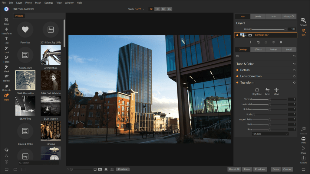 Screenshot of On1 Photo RAW image editing software