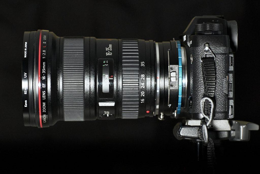 Canon 16-35mm EF lens - Fotodiox shift adapter (unshifted) - Fujifilm XT-2 camera body