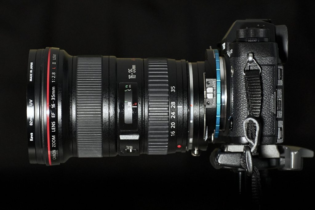 Canon 16-35mm lens attached to a Fujifilm XT-2 camera, and shifted down, by means of a Fotodiox shift adapter