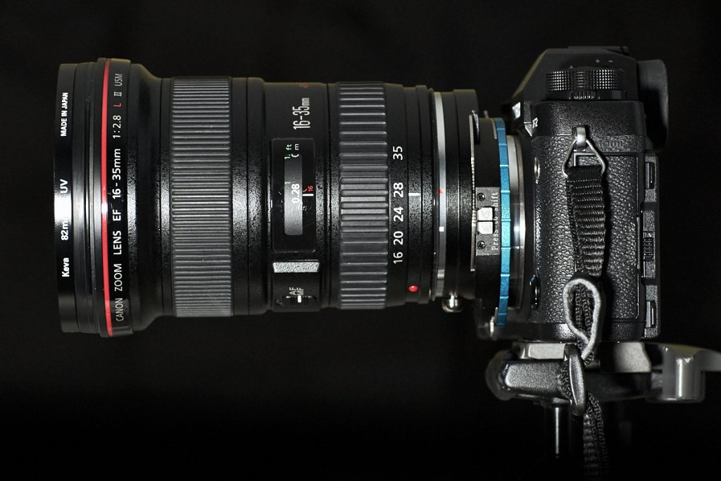 Canon 16-35mm EF lens - Fotodiox shift adapter (shifted up) - Fujifilm XT-2 camera body