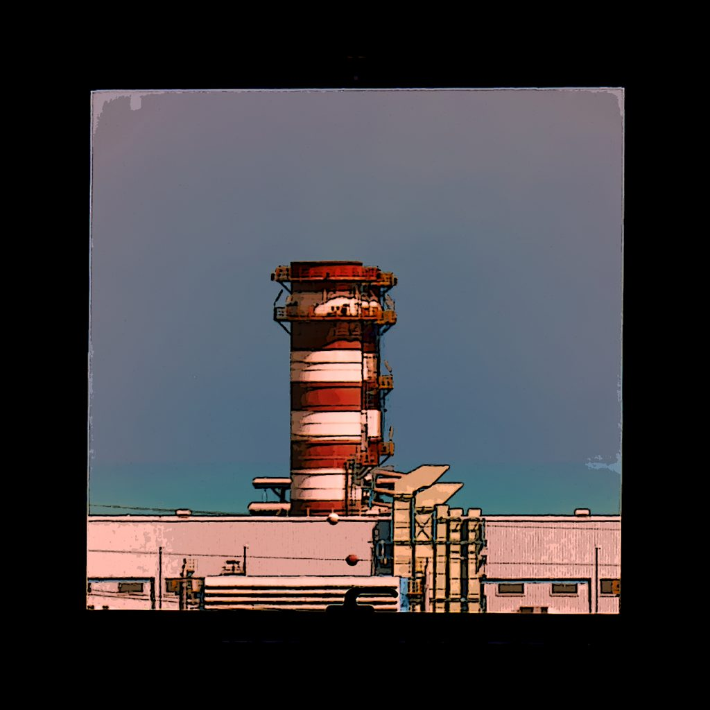 Image: Turbine stack - a photograph of a power station turbine stack taken through a hotel window - available as an NFT on the OpenSea platform